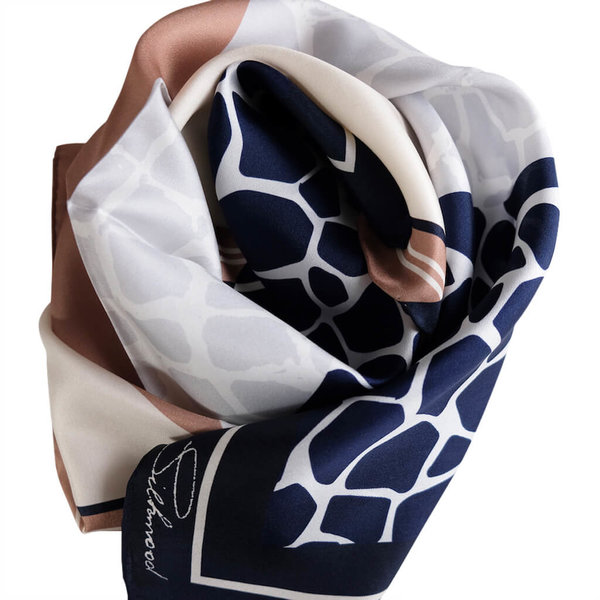 Animal Print Silk Scarf, 100% silk Twill