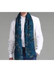 Bufanda de seda doble capa azul