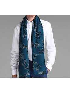 Double layer silk scarf blue