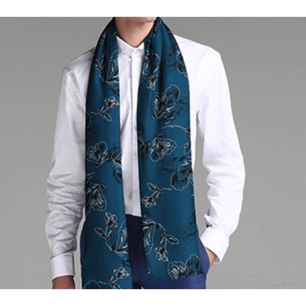 Hombre bufanda de doble capa de lana y seda
