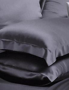Taies d'oreiller en soie 22mm gris anthracite