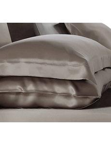 Funda de almohada de seda 19mm chateau marrón