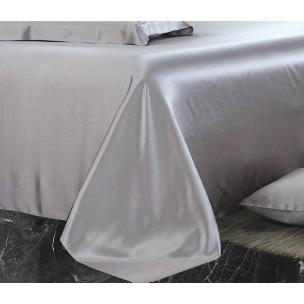 Silk flat sheet 22momme silver grey