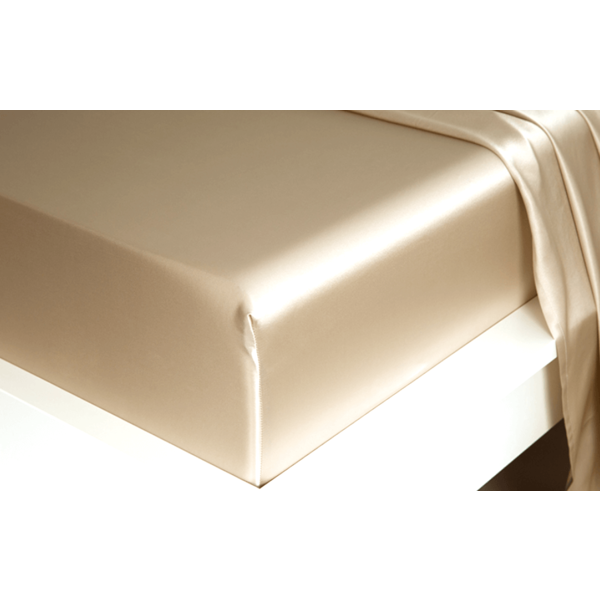 Silk fitted sheet 22momme Champagne