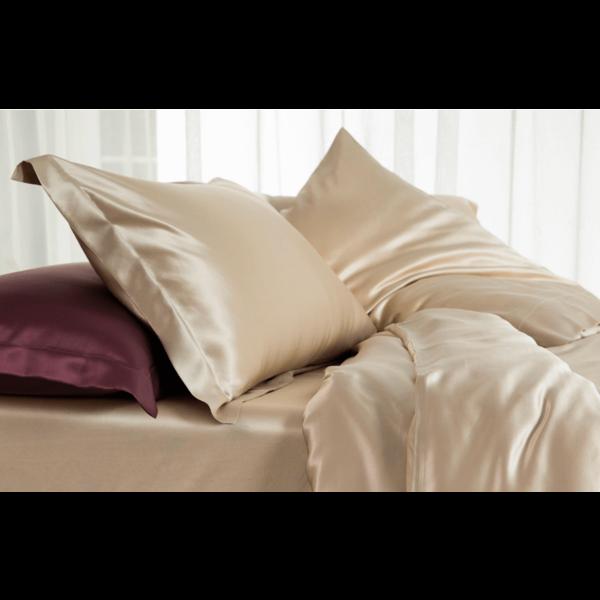 Funda de almohada de seda 22momme Champán