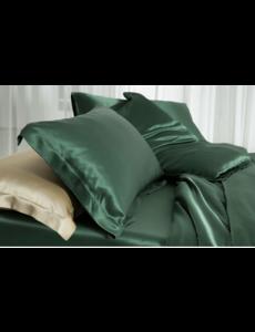 Funda de almohada de seda 19mm bosque verde