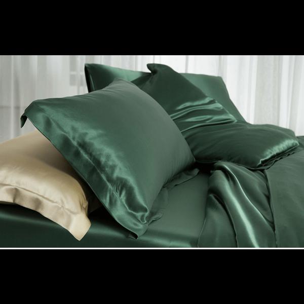 Funda de almohada de seda 19momme bosque verde