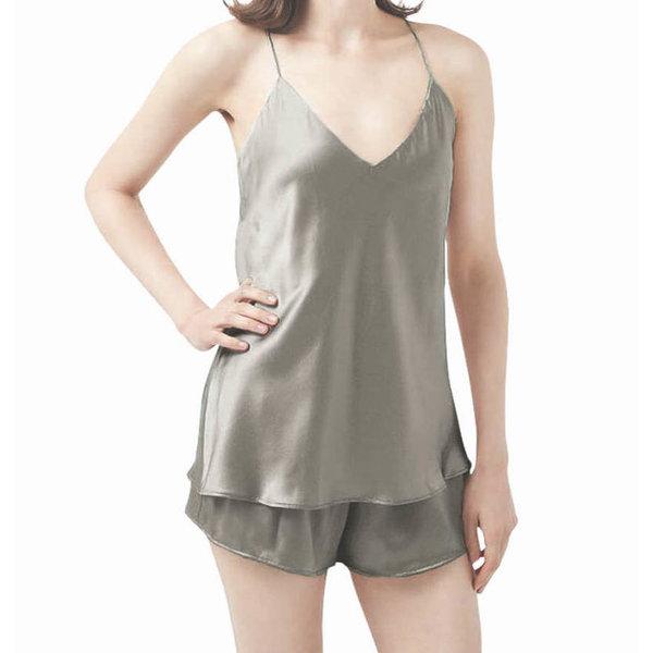 Top et shorts en soie pour femme