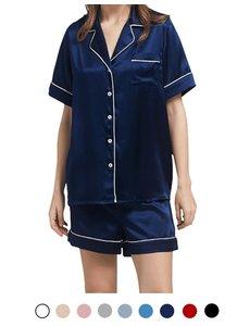 Ensemble pyjama court en soie pour femme