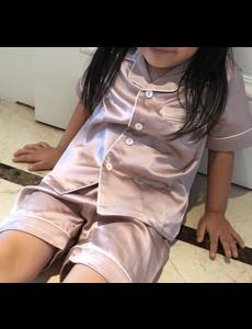 Ensemble pyjama en soie pour fille (shortama)