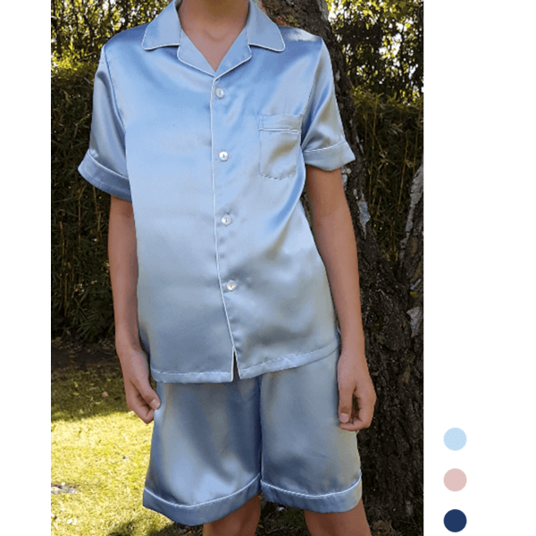 Boy's silk pajama set (short sleeves + Shorts)