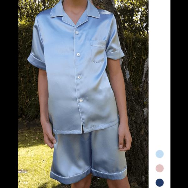 Pyjama en soie pour garçon (manches courtes + shorts)