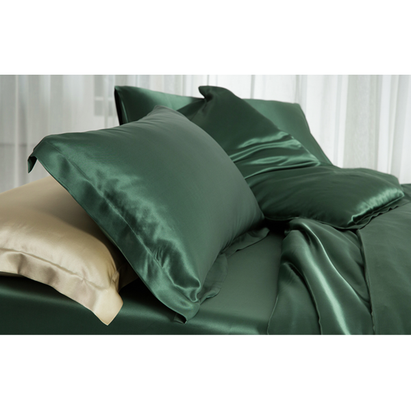 Silk fitted sheet 19momme forest green
