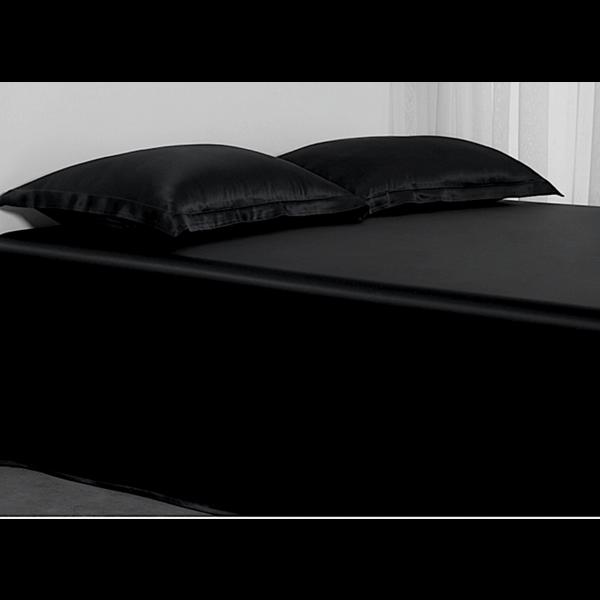 Silk flat sheet 22momme black