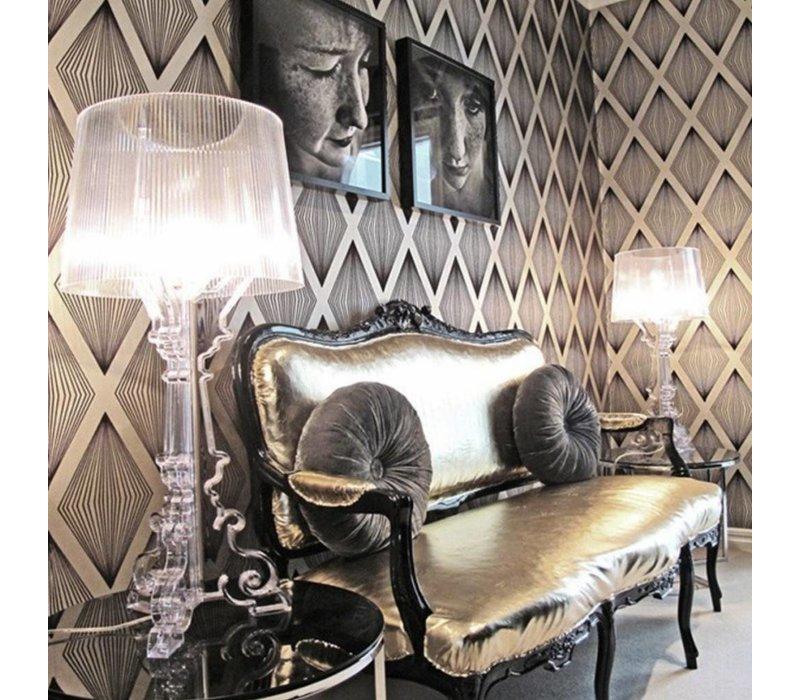 Bourgie lamp Transparant/Zwart