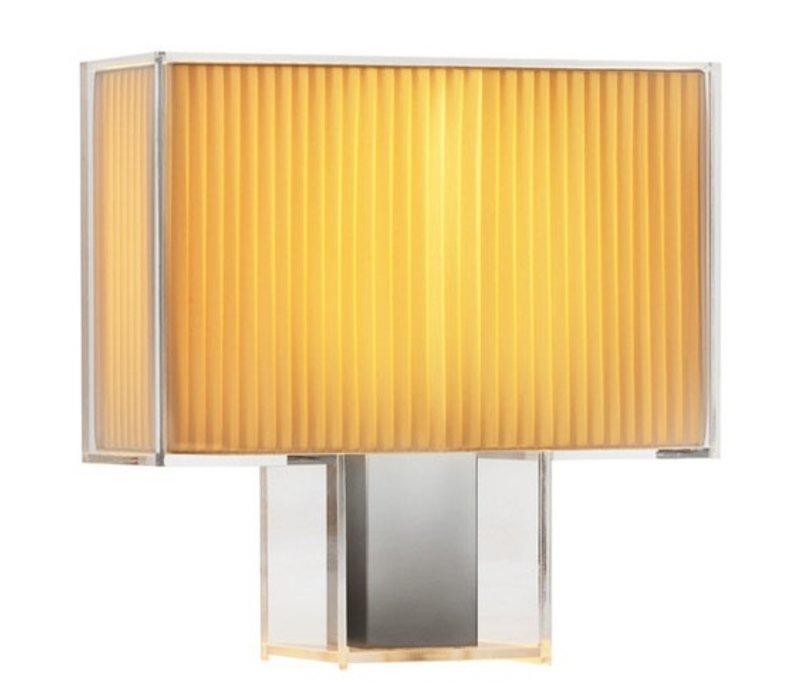 Tati lamp zwart kant en geplooid oranje