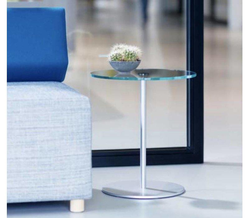 Velvet bijzettafel in transparant glas of gesatineerd glas.
