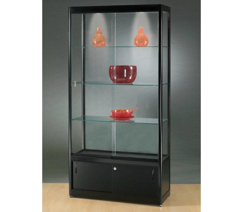Basic glazen vitrine met afsluitbare onderkast