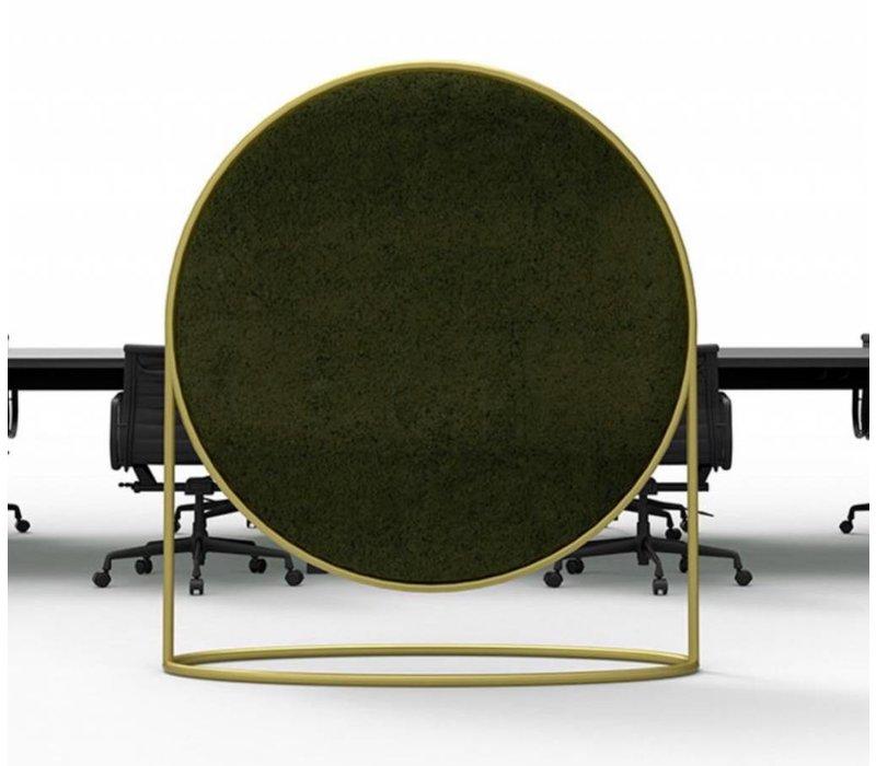 Cirkelvormig akoestisch paneel uit mos