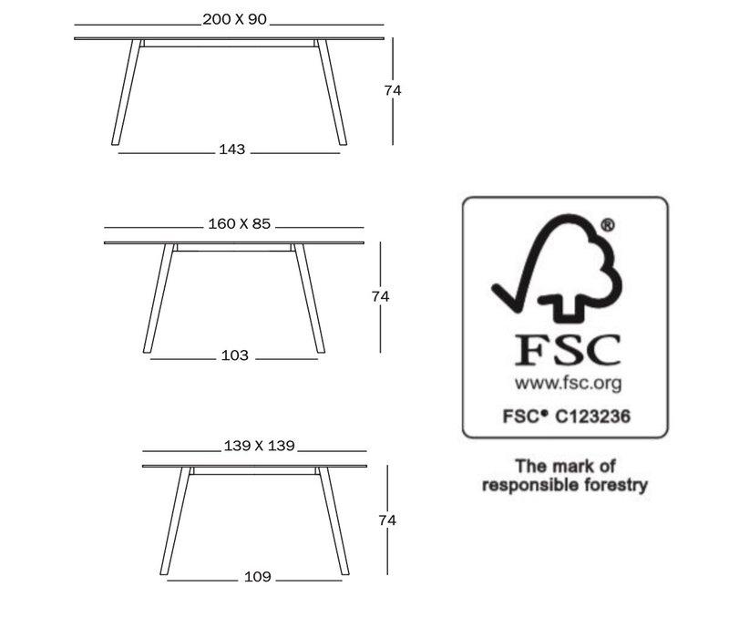 Pilo tafel rechthoekig