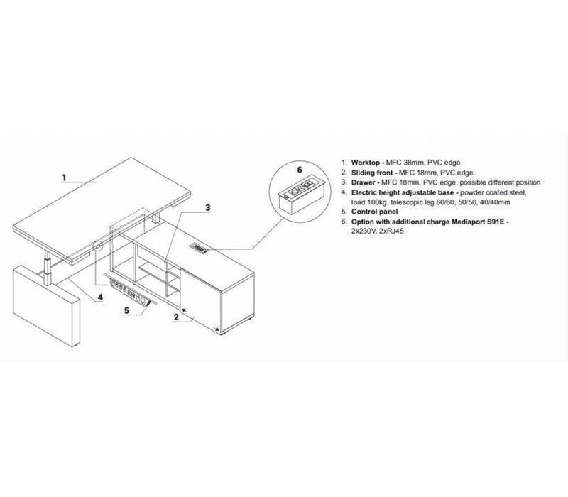 Mito ergonomisch directiebureau - elektrisch verstelbaar