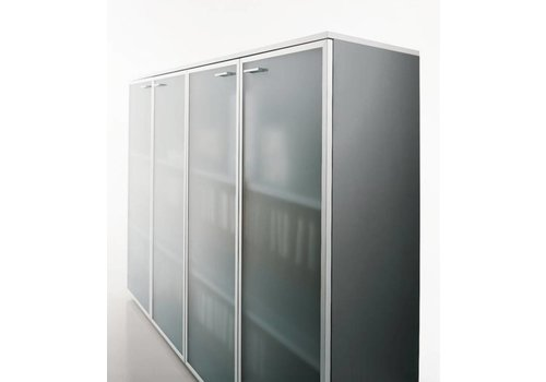 Office & Co Halfhoge kasten met glazen deur - 118H cm