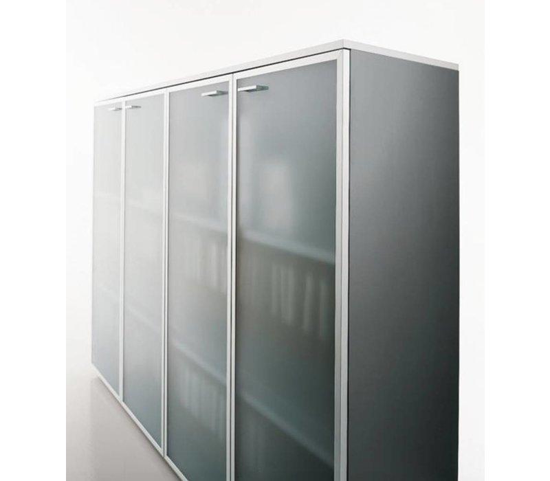 Halfhoge kasten met glazen deur - 118H cm