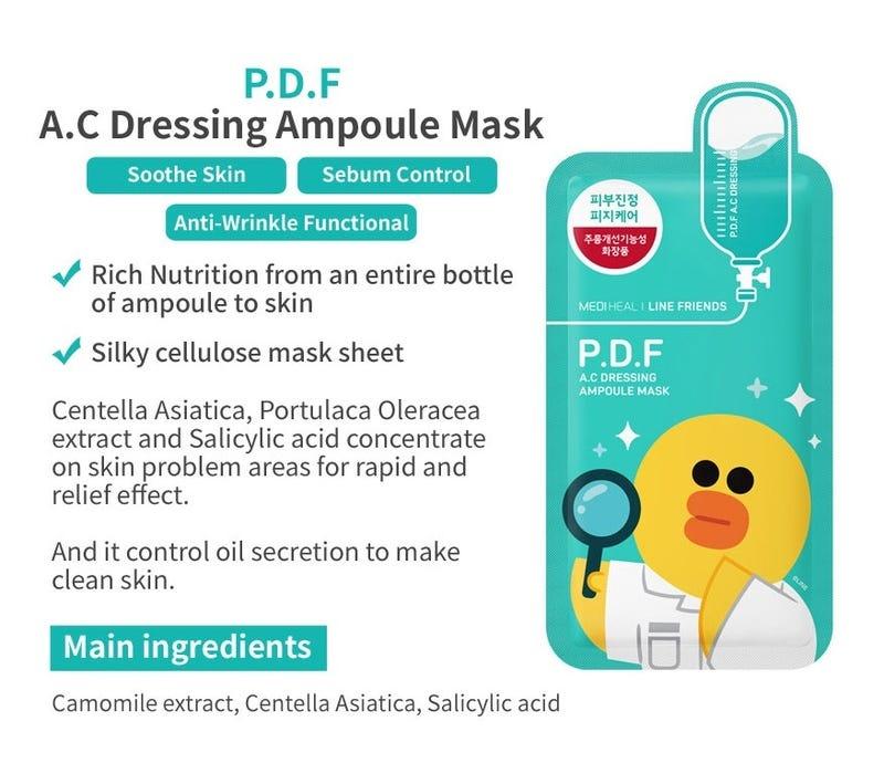 P.D.F AC Dressing Ampoule Mask  (Line Friends Edition)-3
