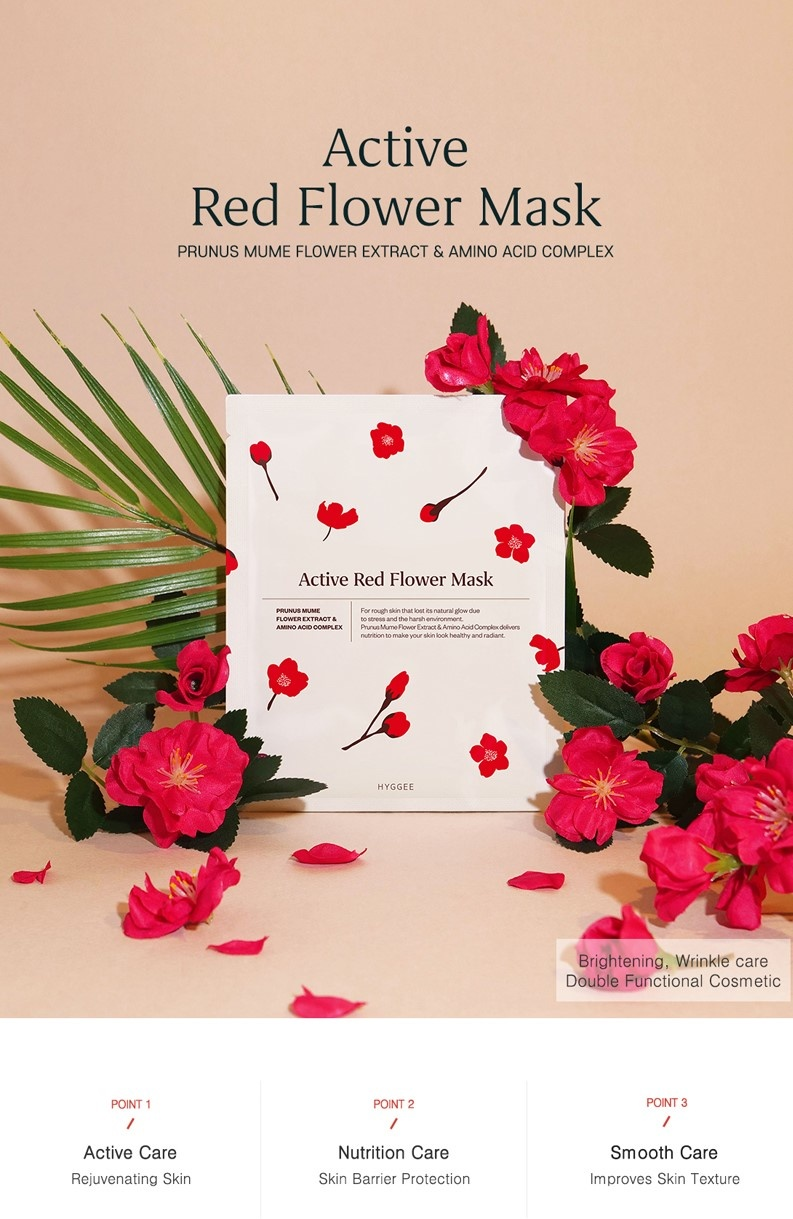Active Red Flower Mask-2