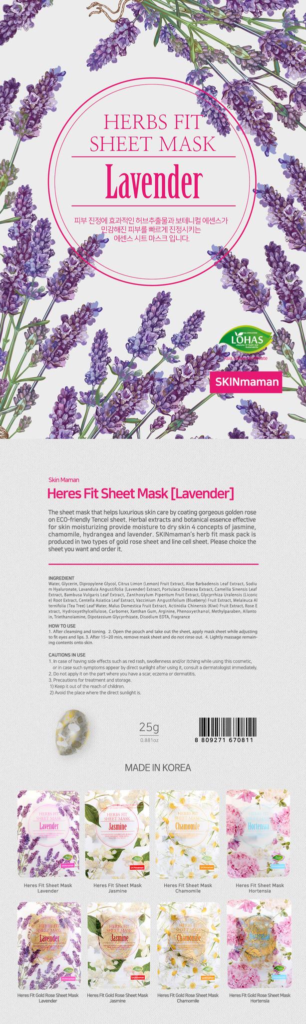 Skinmaman Herbs Fit Gold Rose Sheet Mask [Lavender]-2