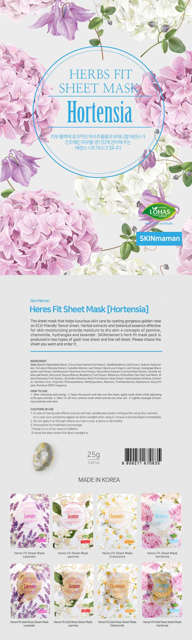Skinmaman Herbs Fit Gold Rose Sheet Mask [Hortensia]-2