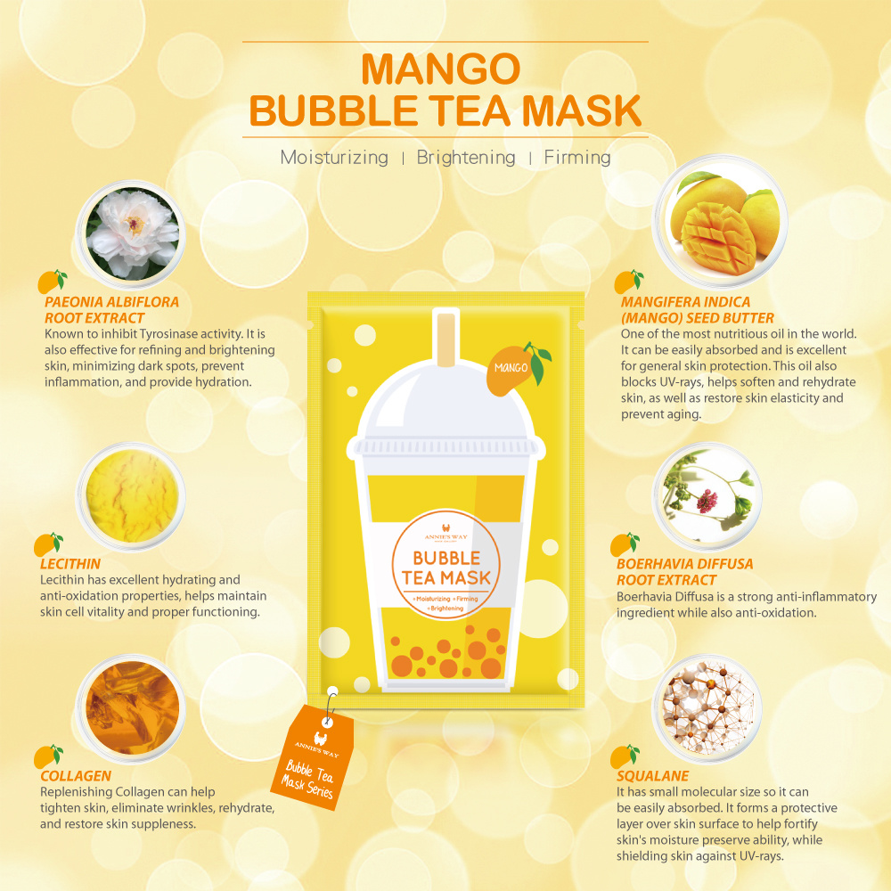 Mango Bubble Tea Invisible Silk Mask-3