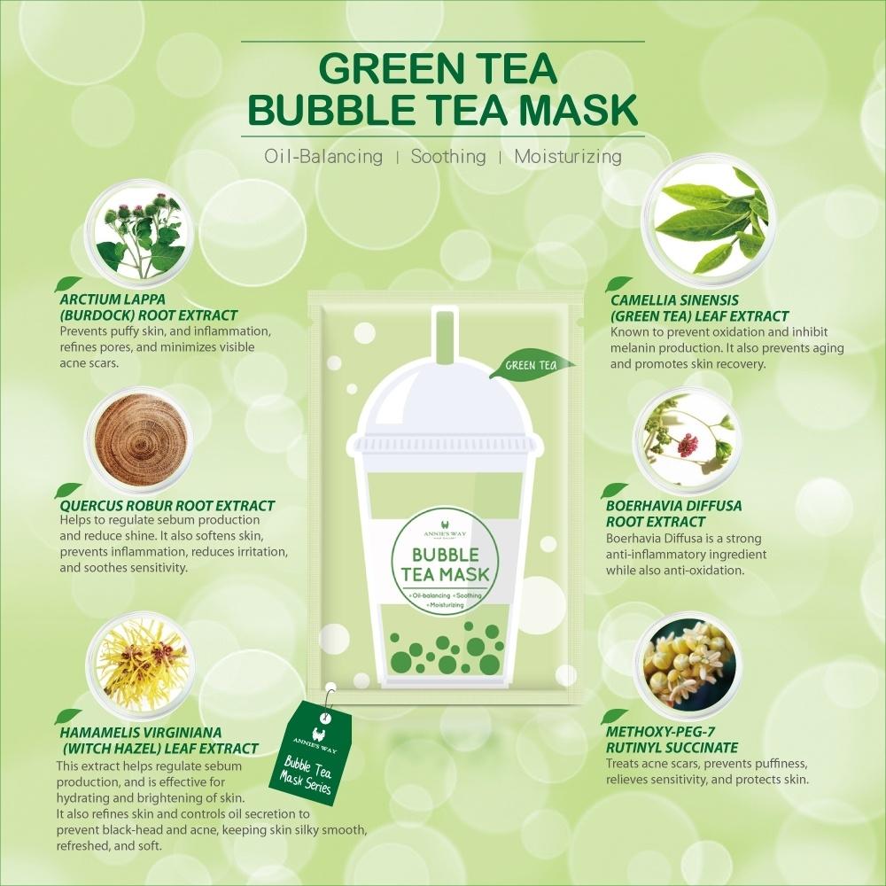 Green Tea Bubble Tea Invisible Silk Mask-3