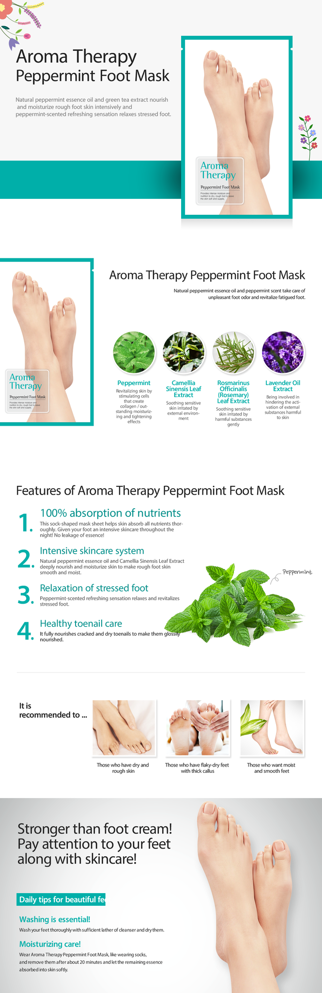 Aromatherapy Peppermint Foot Mask-2