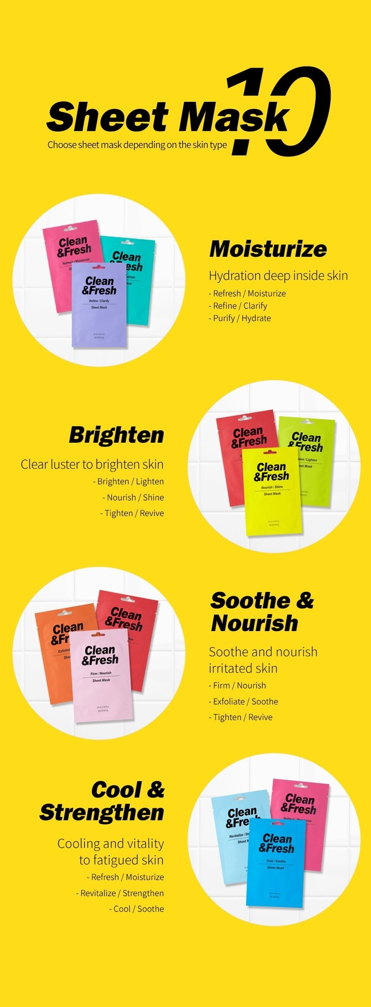 Clean & Fresh Tuchmaske Mix Pack (10 Stk)-10