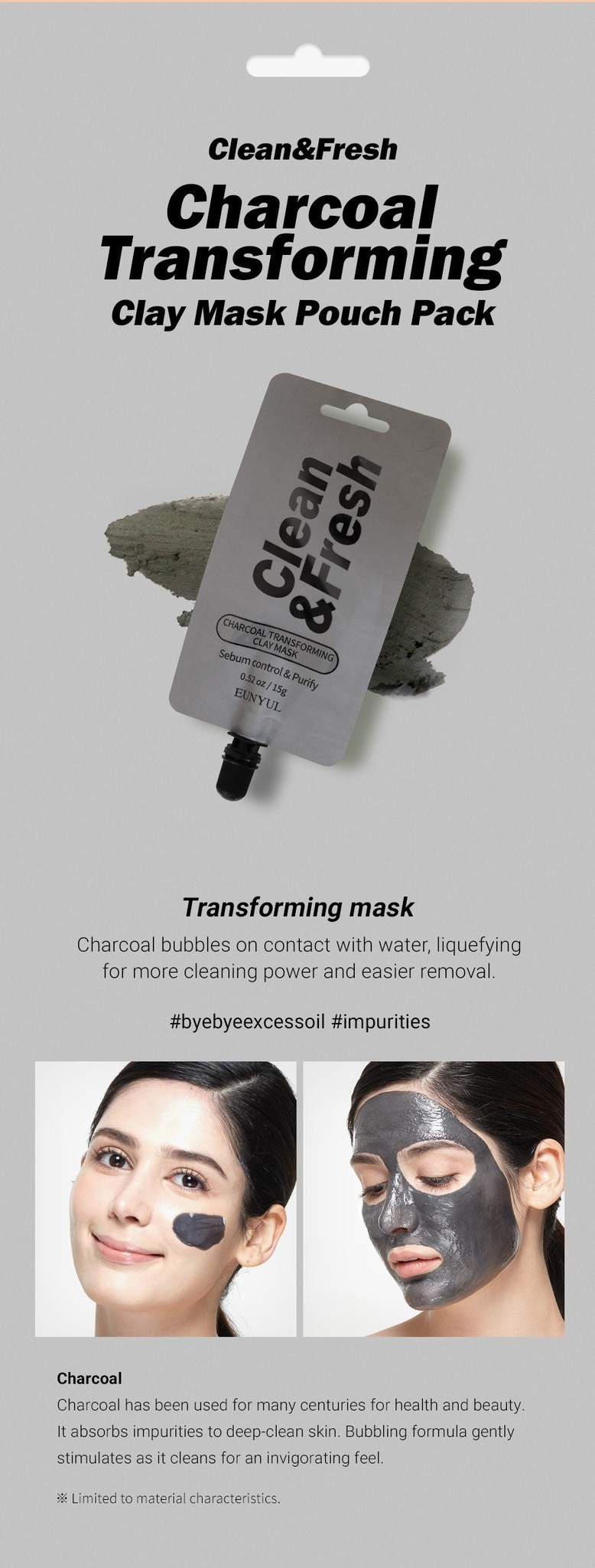 Clean & Fresh Clay Mask Pouch Pack - Charcoal Transforming-4