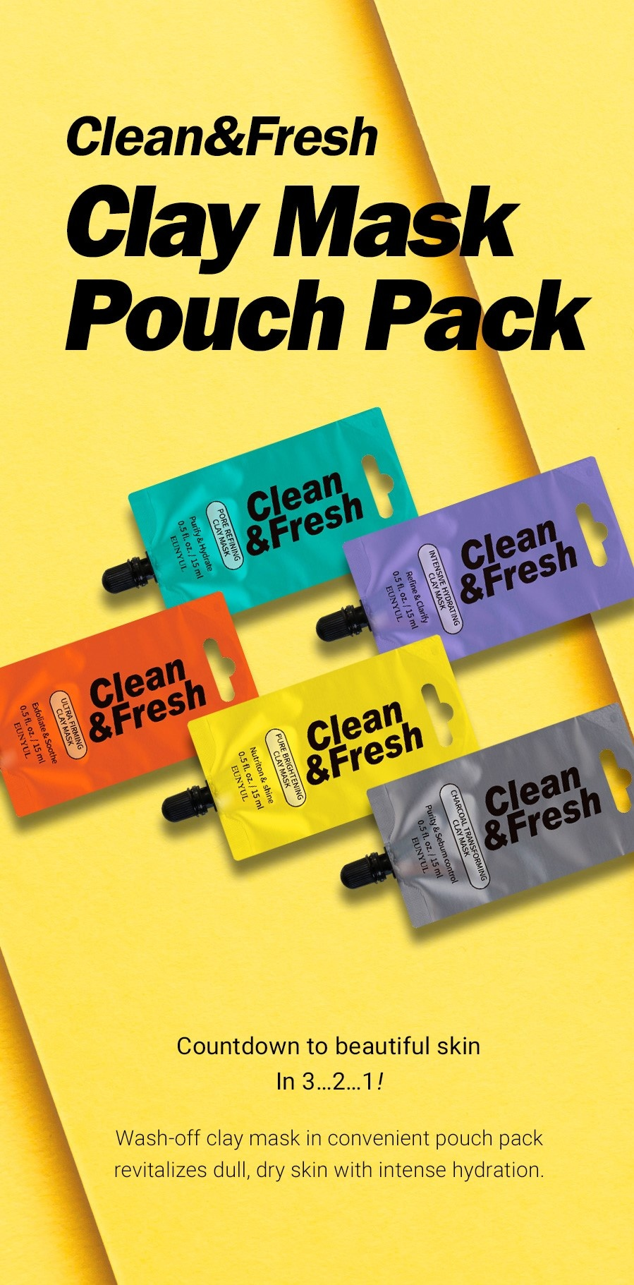 Clean & Fresh Clay Mask Pouch Pack - Pure Brightening-2
