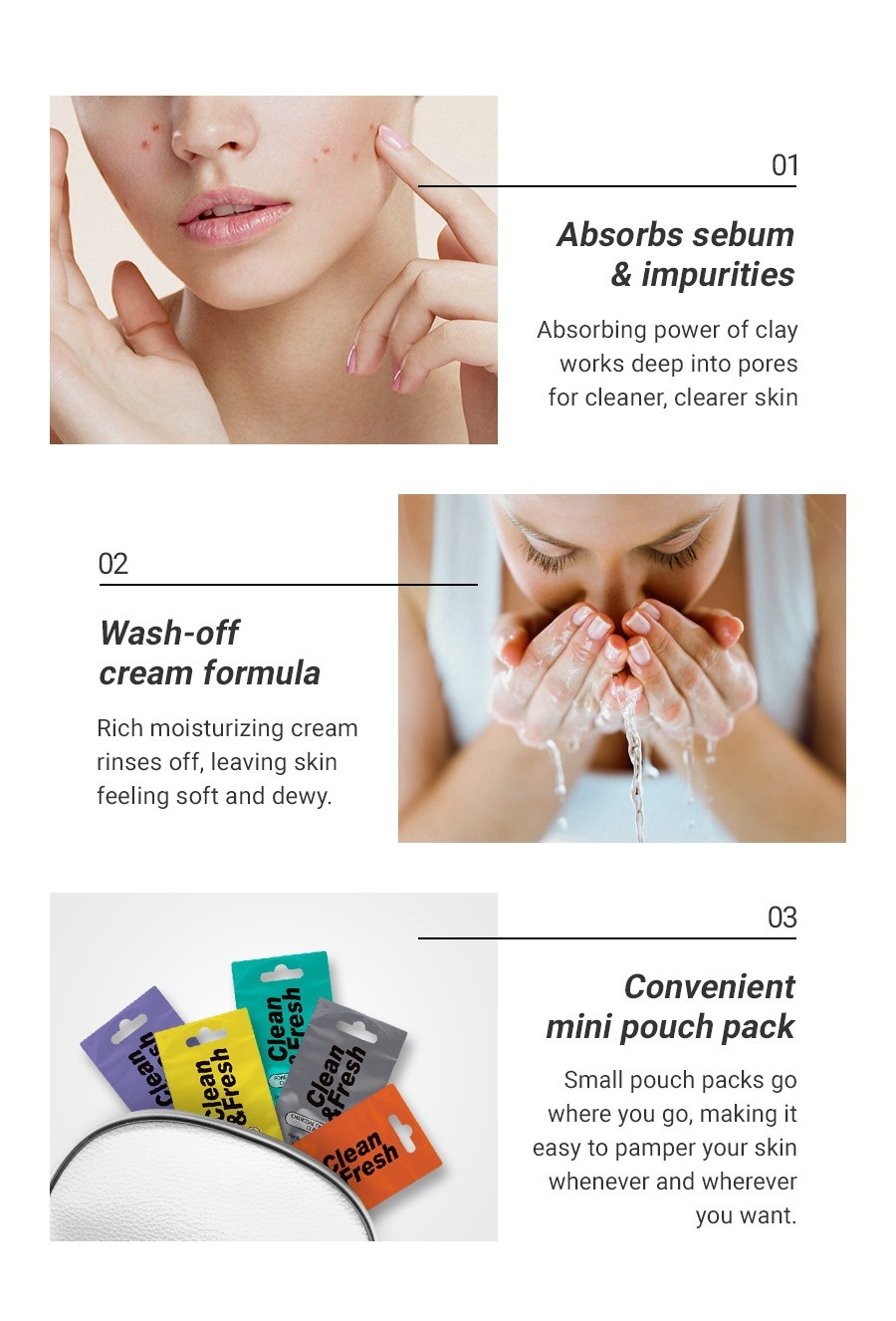 Clean & Fresh Clay Mask Pouch Pack - Pure Brightening-3