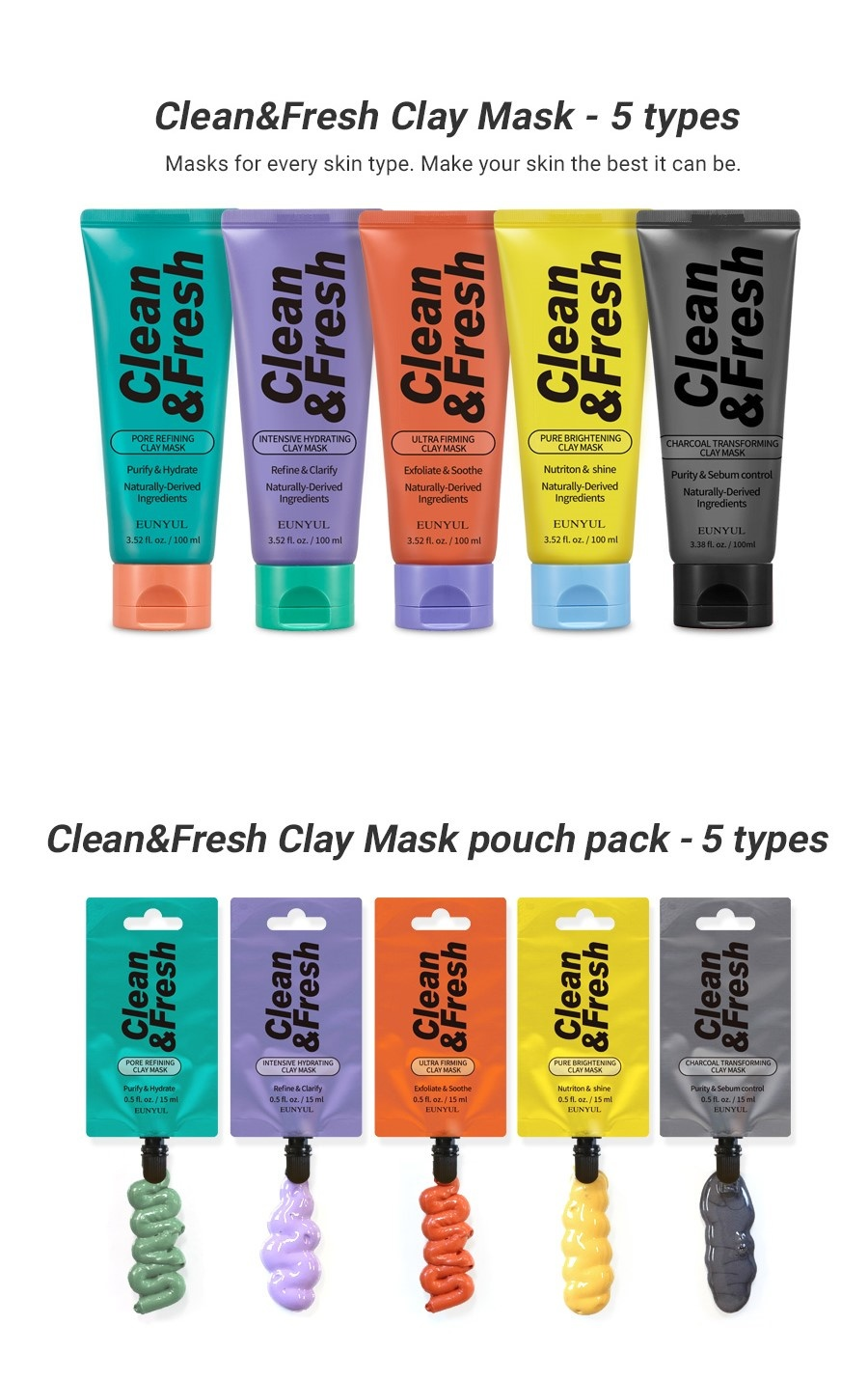 Clean & Fresh Clay Mask Pouch Pack - Pore Refining-5