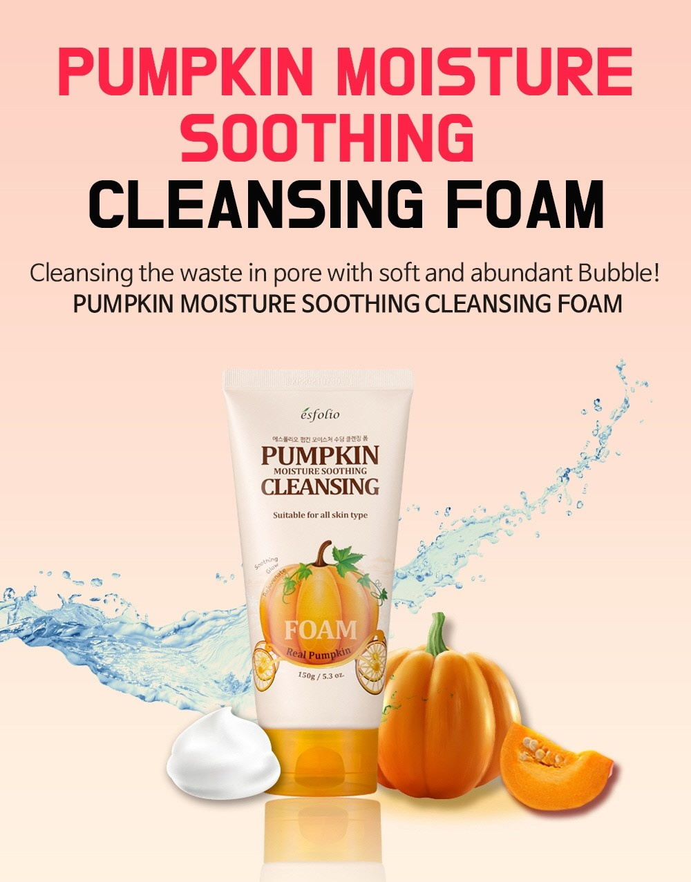 Pumpkin Moisture Soothing Cleansing Foam-2