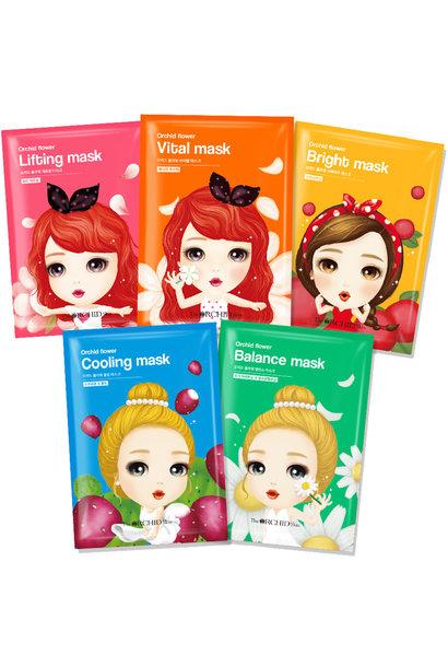 Orchid Flower Sheet Mask Mix Set (5 pcs)