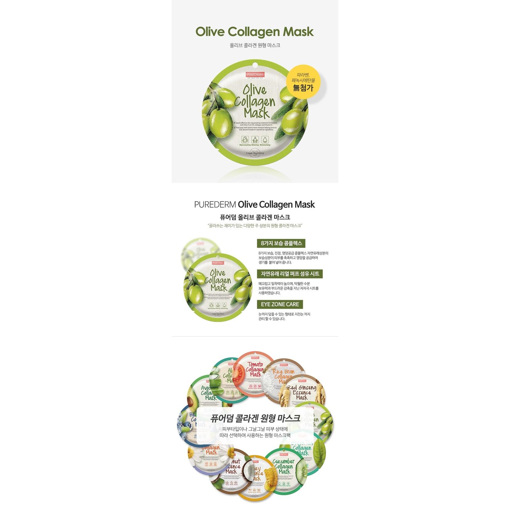 PUREDERM Circle Mask - Olive Collagen