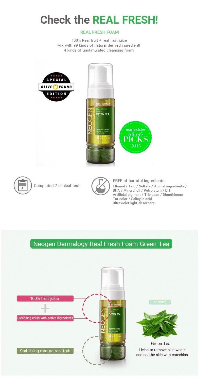 Real Fresh Foam Cleanser Green Tea-3