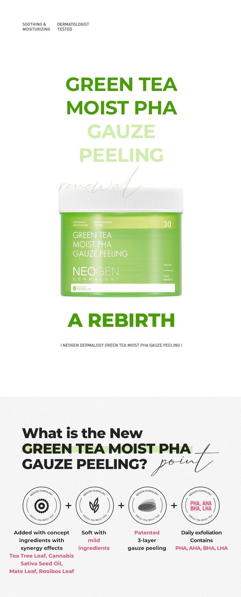 Green Tea Moist PHA Gauze Peeling-4