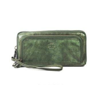 Bear Design Ritsportemonnee groot - groen  CL14851,  Cow Lavato Collectie