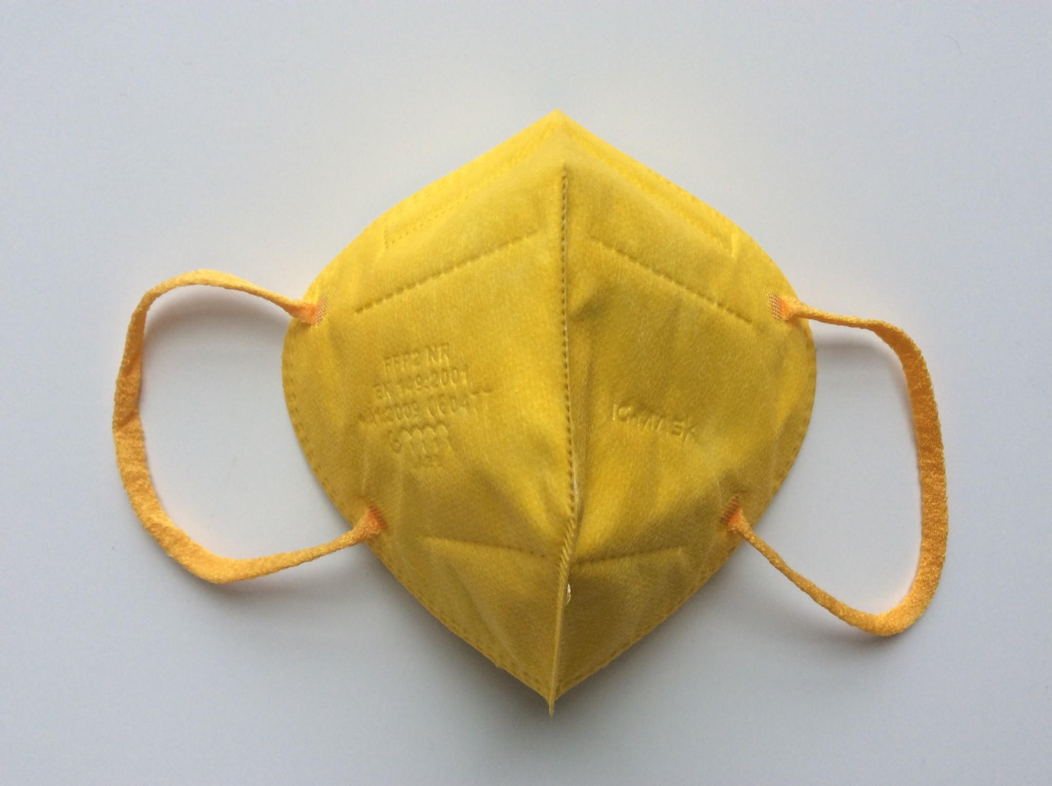 "IG-mask ""FFP2"" IG-Mask - Kleur Geel - 5 stuks (2,99 per stuk)"