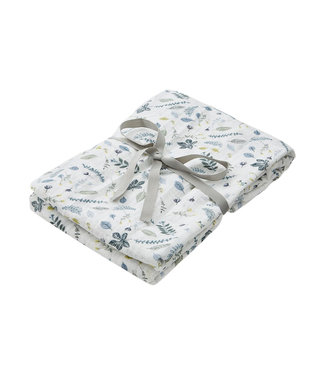 Cam Cam Printed Muslin Swaddle Light Pressed Leaves Blue