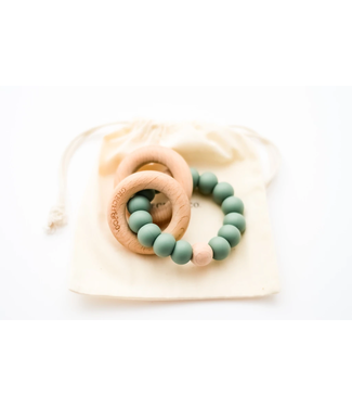GRECH & CO SEDONA TEETHING RING + RATTLE FERN