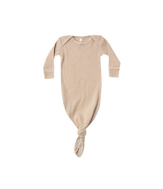 QUINCY MAE Ribbed Knotted Baby Gown Walnut