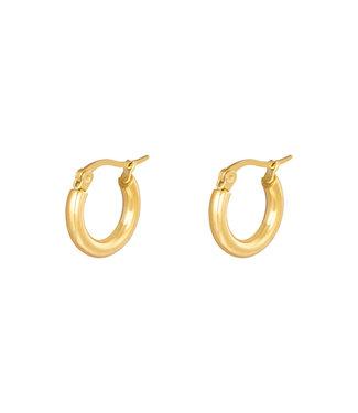 Mila & me EARRINGS HOOPS SMOOTH 15MM GOLD
